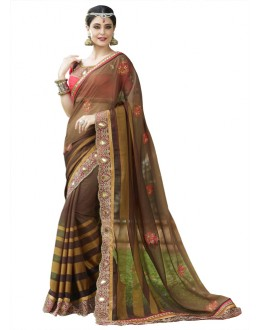 Festival Wear Brown Georgette Saree  - 18537