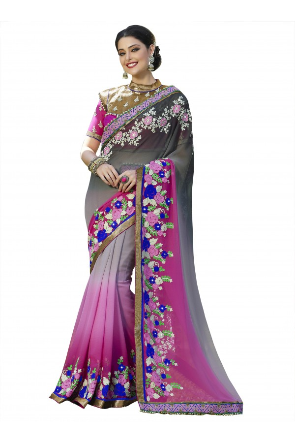 Festival Wear Grey & Pink Georgette Saree  - 18540