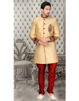 Wedding Wear Golden Brocade Sherwani - 18555