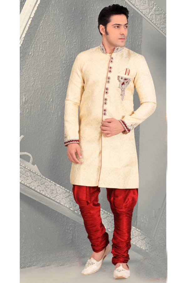 Traditional Cream Brocade Sherwani - 18557