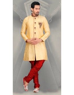 Wedding Wear Golden Silk Sherwani - 18559