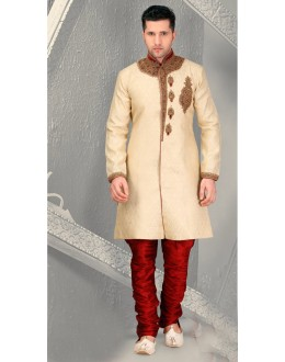Wedding Wear Golden Brocade Sherwani - 18560