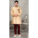 Readymade Golden Brocade Sherwani - 18561