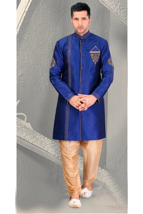 Ethnic Wear Navy Blue Silk Sherwani - 18562