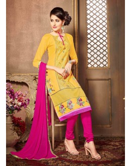 Office Wear Yellow Glaze Cotton Salwar Suit - 18611