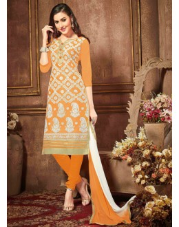 Party Wear Orange Glaze Cotton Salwar Suit - 18613