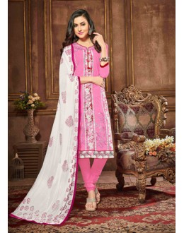 Festival Wear Pink Glaze Cotton Salwar Suit - 18619