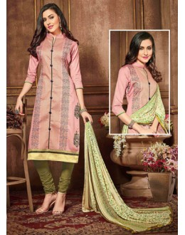 Party Wear Peach Glaze Cotton Salwar Suit - 18620