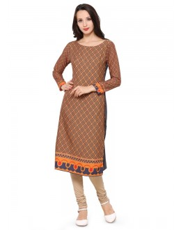 Ethnic Wear Readymade Brown Poly Crepe Tunic - 18850