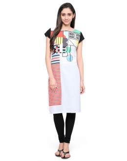 Ethnic Wear Readymade White Poly Crepe Tunic - 18851
