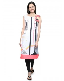 Office Wear Readymade White Poly Crepe Tunic - 18852
