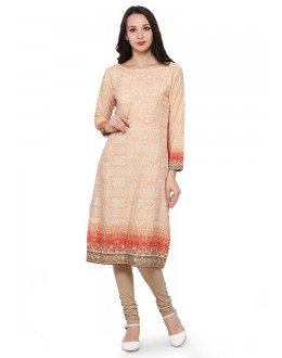 Casual Wear Readymade Beige Poly Crepe Tunic - 18853