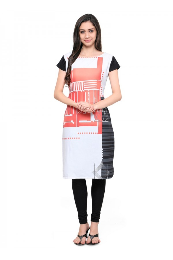 Ethnic Wear Readymade White Poly Crepe Tunic - 18855