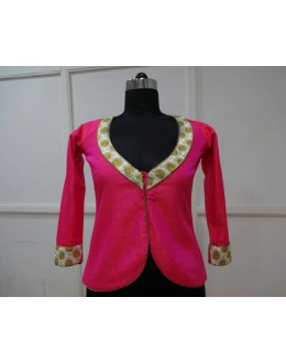 Party Wear Readymade Pink Blouse - 18858