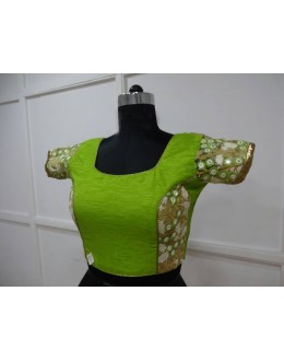 Party Wear Readymade Green Silk Blouse - 18872