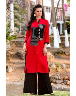 Readymade Red & Black Rayon Tunic - 18884