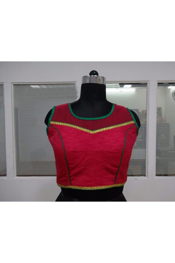 Casual Wear Readymade Red Silk Blouse - 18895
