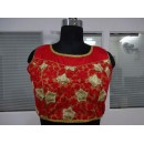 Ethnic Wear Readymade Red Taffeta Silk Blouse - 18924