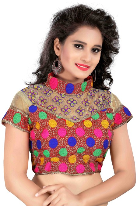 Party Wear Readymade Multi-Colour Cotton Blouse - 18960