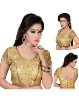 Ethnic Wear Readymade Golden Cotton Blouse - 18968