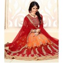 Designer Red & Orange Net Lehenga Choli - 18974