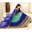 Festival Wear Sea Green & Blue Net Lehenga Choli - 18975