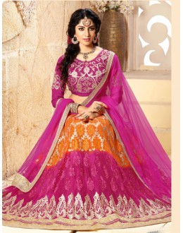 Festival Wear Orange & Pink Net Lehenga Choli - 18976
