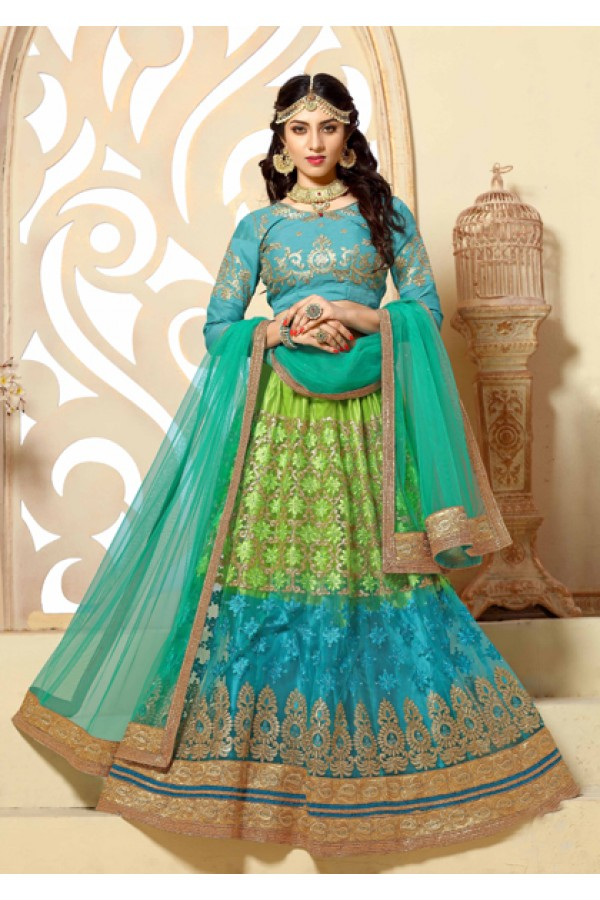 Designer Light Green & Blue Net Lehenga Choli - 18977