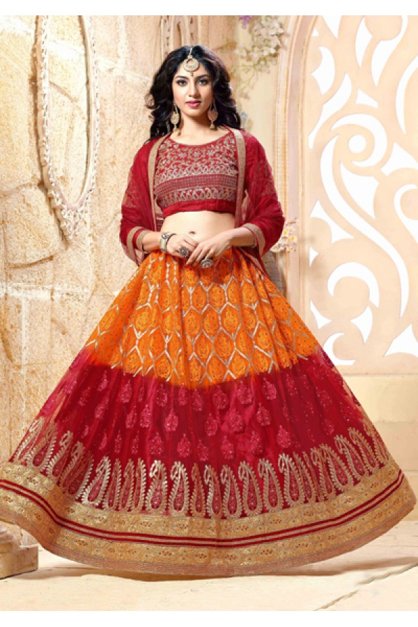 Traditional Orange & Red Net Lehenga Choli - 18978