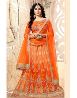 Traditional Orange Net Lehenga Choli - 18980