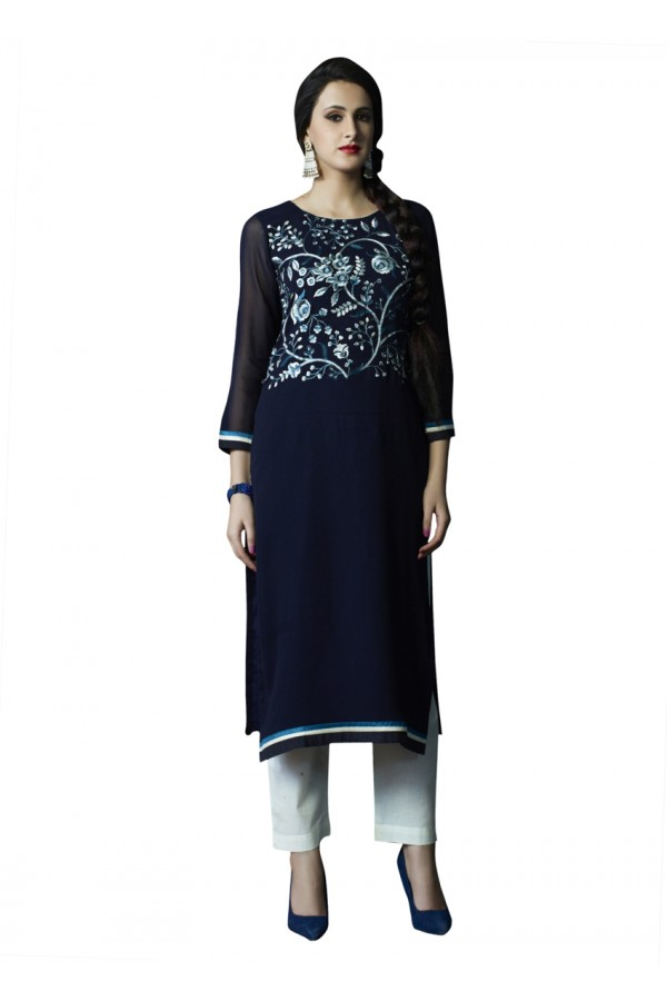 Ethnic Wear Readymade Blue Pure Georgette Tunic - 18998