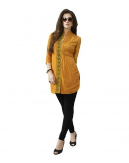 Festival Wear Readymade Yellow Rayon Tunic - 19001