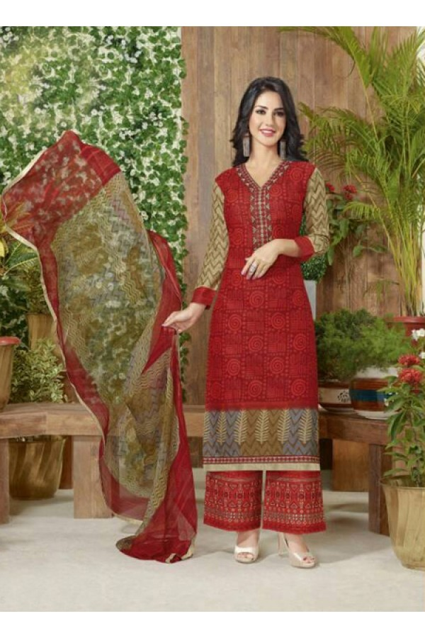 Office Wear Red Lawn Cotton Palazzo Suit - 19015
