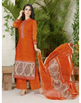 Ethnic Wear Orange Lawn Cotton Palazzo Suit - 19021