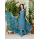 Casual Wear Blue Lawn Cotton Salwar Suit - 19022