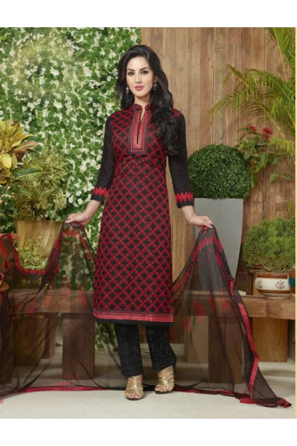 Office Wear Red Lawn Cotton Salwar Suit - 19024
