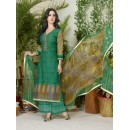 Ethnic Wear Green Lawn Cotton Palazzo Suit - 19025