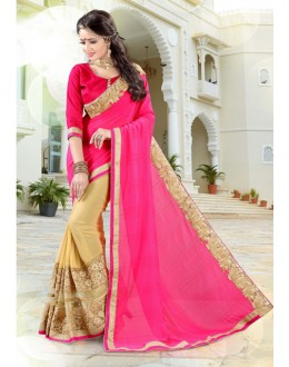 Ethnic Wear Pink & Cream Chiffon Saree  - 19027