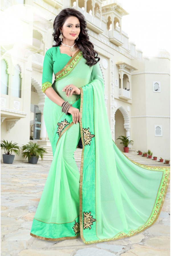 Ethnic Wear Light Green Soft Chiffon Saree  - 19029