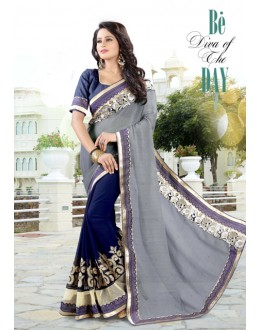 Party Wear Grey & Blue Chiffon Saree  - 19030