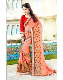 Festival Wear Light Orange Soft Chiffon Saree  - 19034