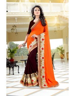 Orange & Maroon 60 Grm Georgette Half & Half Saree  - 19036