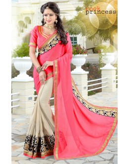 Festival Wear Multi-Colour Shine Chiffon Saree  - 19037