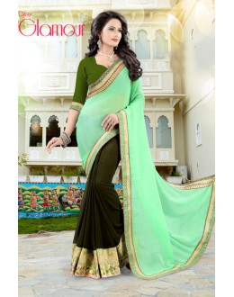 Multi-Colour Soft Chiffon Half & Half Saree  - 19038