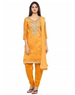 Ethnic Wear Yellow Glace Cotton Salwar Suit - 19064