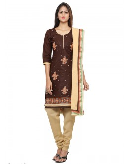 Casual Wear Brown Glace Cotton Salwar Suit - 19069