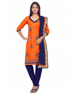 Ethnic Wear Orange Glace Cotton Salwar Suit - 19070