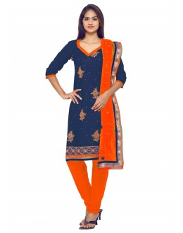 Party Wear Blue Glace Cotton Salwar Suit - 19071