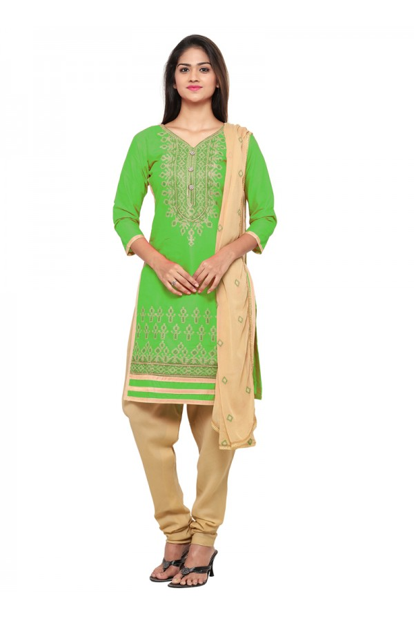 Party Wear Green Glace Cotton Salwar Suit - 19073