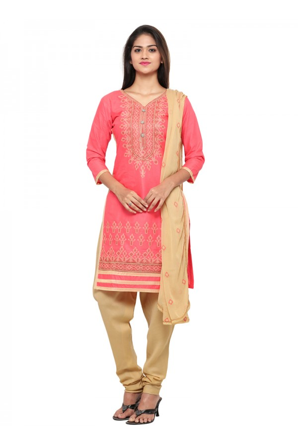 Festival Wear Pink Cotton Salwar Suit - 19074